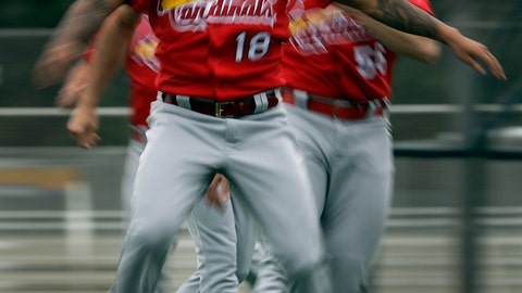 <p>               St. Louis Cardinals pitcher Carlos Martinez (18) warms up with his teammates during spring training baseball practice Wednesday, Feb. 13, 2019, in Jupiter, Fla. (AP Photo/Jeff Roberson)             </p>