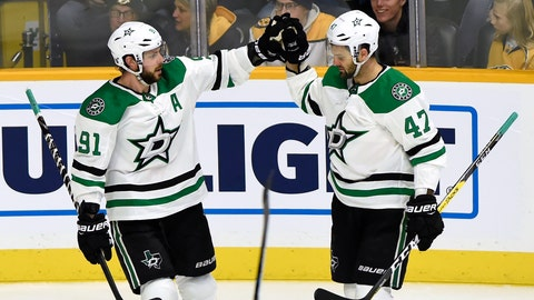 <p>               Dallas Stars center Tyler Seguin (91) is congratulated by right wing Alexander Radulov (47), of Russia, after scoring a goal against the Nashville Predators during the first period of an NHL hockey game Saturday, Feb. 2, 2019, in Nashville, Tenn. (AP Photo/Mark Zaleski)             </p>