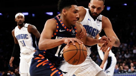<p>               New York Knicks' Allonzo Trier (14) drives past Orlando Magic's Evan Fournier (10) during the second half of an NBA basketball game Tuesday, Feb. 26, 2019, in New York. The Knicks won 108-103. (AP Photo/Frank Franklin II)             </p>