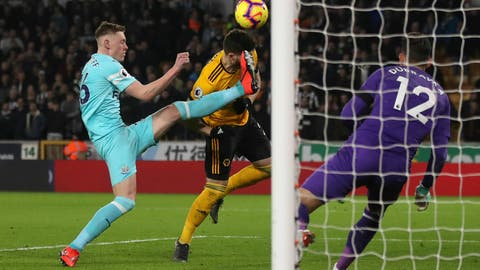 <p>               Wolverhampton Wanderers' Matt Doherty heads the ball, during the English Premier League soccer match between Wolverhampton Wanderers and Newcastle United, at Molineux, in Wolverhampton, England, Monday, Feb. 11, 2019. (Nick Potts/PA  via AP)             </p>