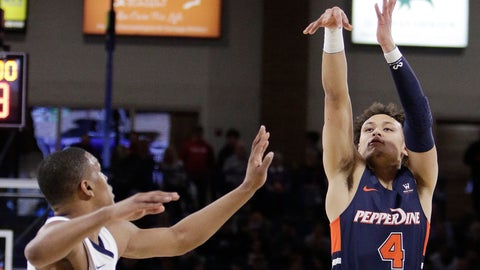 <p>               Pepperdine guard Colbey Ross (4) shoots over Gonzaga guard Zach Norvell Jr. during the first half of an NCAA college basketball game in Spokane, Wash., Thursday, Feb. 21, 2019. (AP Photo/Young Kwak)             </p>
