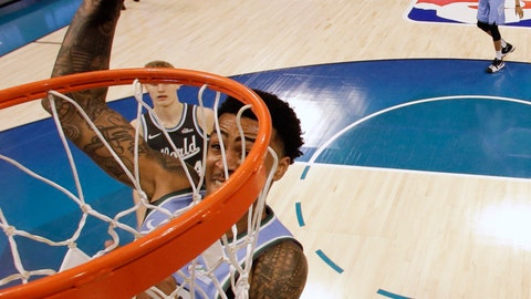 <p>               U.S. Team's John Collins, of the Atlanta Hawks dunks against the World Team during the NBA All-Star Rising Stars basketball game, Friday, Feb. 15, 2019, in Charlotte, N.C. The U.S. Team won 161-144. (AP Photo/Chuck Burton)             </p>