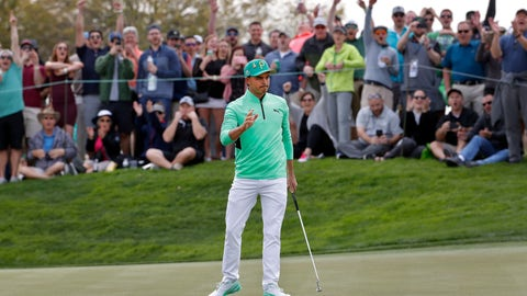<p>               Rickie Fowler waves after making a birdie putt on the fifth green during the third round of the Phoenix Open PGA golf tournament, Saturday, Feb. 2, 2019, in Scottsdale, Ariz. (AP Photo/Matt York)             </p>