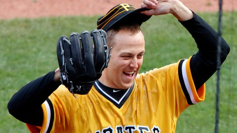 <p>               FILE - In this April 8, 2018, file photo, Pittsburgh Pirates starting pitcher Jameson Taillon reacts after being doused by teammate Gregory Polanco as he waits to be interviewed after throwing a complete baseball game, a one-hit shutout against the Cincinnati Reds, in Pittsburgh. The Pirates believe their young core of starting pitching, fronted by Taillon and Tevor Williams, that seemed to get better as 2018 wore on, are ready for another massive step forward in 2019. (AP Photo/Gene J. Puskar/File)             </p>