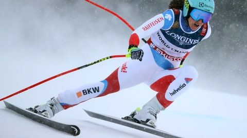 <p>               Switzerland's Wendy Holdener speeds down the course during the downhill portion of the women's combined, at the alpine ski World Championships in Are, Sweden, Friday, Feb. 8, 2019. (AP Photo/Alessandro Trovati)             </p>
