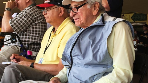 <p>               FILE - In this March 5, 2016, file photo, Tommy Giordano, right, special assistant to the general manager of the Atlanta Braves, scouts a spring training baseball game between the Braves and the Pittsburgh Pirates in Kissimmee, Fla. Giordano spent nearly all of his marvelously full life as a baseball man. He's going out like he lived for more than 93 years _ surrounded by family and friends, accompanied by overwhelming love and stories that will endure long after he's gone. (AP Photo/Paul Newberry, File)             </p>