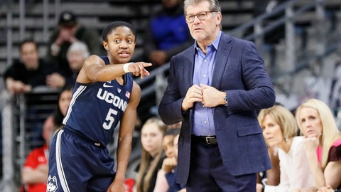 <p>               Connecticut head coach Geno Auriemma, right, speaks with Crystal Dangerfield (5) in the first half of an NCAA college basketball game against Cincinnati, Saturday, Feb. 2, 2019, in Cincinnati. (AP Photo/John Minchillo)             </p>