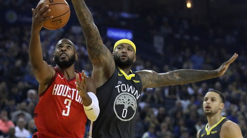 <p>               Houston Rockets' Chris Paul, left, lays up a shot past Golden State Warriors' DeMarcus Cousins, center, in the first half of an NBA basketball game Saturday, Feb. 23, 2019, in Oakland, Calif. (AP Photo/Ben Margot)             </p>