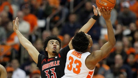 <p>               Louisville's Jordan Nwora, left, defends Syracuse's Elijah Hughes, right, during the first half of an NCAA college basketball game in Syracuse, N.Y., Wednesday, Feb. 20, 2019. (AP Photo/Nick Lisi)             </p>