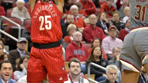 <p>               Louisville guard Asia Durr (25) shoots over the defense of Boston College guard Sydney Lowery (31) during the second half of an NCAA college basketball game in Louisville, Ky., Sunday, Feb. 24, 2019. Louisville won 87-51. (AP Photo/Timothy D. Easley)             </p>