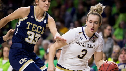 <p>               Notre Dame's Marina Mabrey (3) drives in next to Georgia Tech's Francesca Pan (33) during the first half of an NCAA college basketball game Sunday, Feb. 3, 2019, in South Bend, Ind. (AP Photo/Robert Franklin)             </p>