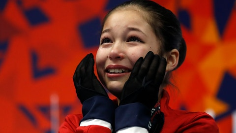 <p>               Alysa Liu reacts after her score was announced in the women's free skate during the U.S. Figure Skating Championships, Friday, Jan. 25, 2019, in Detroit. Liu won the title. (AP Photo/Carlos Osorio)             </p>