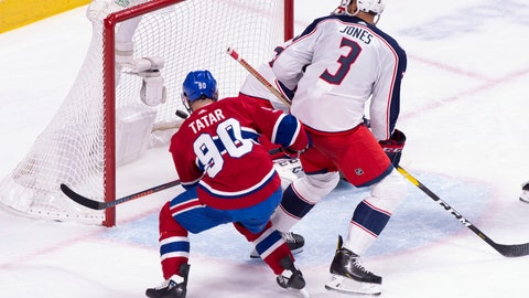 <p>               Montreal Canadiens left wing Tomas Tatar (90) scores past Columbus Blue Jackets goaltender Sergei Bobrovsky as defenceman Seth Jones looks on during third period NHL hockey action in Montreal on Tuesday, Feb. 19, 2019. (Paul Chiasson/The Canadian Press via AP)             </p>