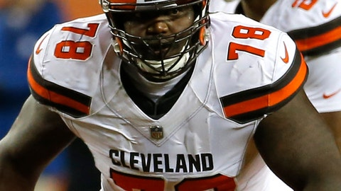 <p>               FILE - In this Dec. 15, 2018, file photo, Cleveland Browns offensive tackle Greg Robinson (78) plays during the first half of an NFL football game against the Denver Broncos, in Denver. The Browns have re-signed left tackle Greg Robinson for next season after he revived his career in 2018. (AP Photo/Rick Scuteri, File)             </p>