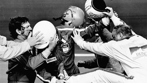 <p>               FILE - In this Feb. 18, 1979, file photo, Cale Yarborough, right, kicks and pushes Bobby Allison, center, who is catching his leg as brother Donnie, left, tries to pull his Bobby free from the fight which started after Yarborough collided with Donnie on the last lap of the Daytona 500 auto race, taking them both out of the finals in the race in Daytona Beach, Fla. The 1979 race was instrumental in broadening NASCAR's southern roots. Forty years later, it still resonates as one of the most important days in NASCAR history. (AP Photo/Ric Feld, File)             </p>