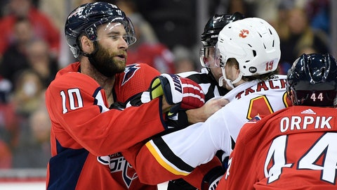 <p>               Washington Capitals right wing Brett Connolly (10) scuffles with Calgary Flames left wing Matthew Tkachuk (19) during the first period of an NHL hockey game Friday, Feb. 1, 2019, in Washington. (AP Photo/Nick Wass)             </p>