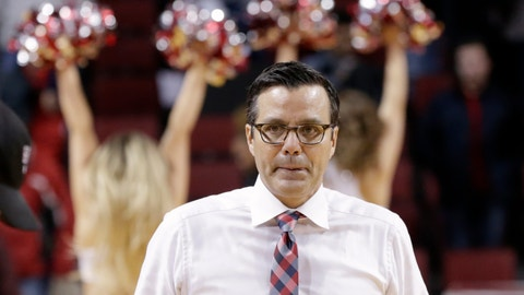 <p>               Nebraska coach Tim Miles walks off the court following an NCAA college basketball game against Maryland in Lincoln, Neb., Wednesday, Feb. 6, 2019. Maryland won 60-45. (AP Photo/Nati Harnik)             </p>