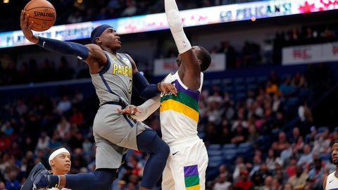 <p>               Indiana Pacers guard Aaron Holiday (3) goes to the basket against New Orleans Pelicans forward Cheick Diallo in the first half of an NBA basketball game in New Orleans, Monday, Feb. 4, 2019. (AP Photo/Gerald Herbert)             </p>