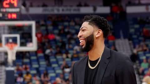 <p>               New Orleans Pelicans forward Anthony Davis laughs as he walks on the court before an NBA basketball game against the Indiana Pacers in New Orleans, Monday, Feb. 4, 2019. (AP Photo/Gerald Herbert)             </p>