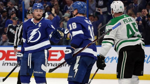 <p>               Tampa Bay Lightning's Steven Stamkos, left, celebrates his goal with Ondrej Palat, of the Czech Republic, as Dallas Stars' Roman Polak, of the Czech Republic, skates past during the second period of an NHL hockey game Thursday, Feb. 14, 2019, in Tampa, Fla. (AP Photo/Mike Carlson)             </p>