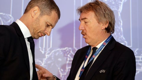 <p>               UEFA President Aleksander Ceferin, left, listens to UEFA Executive Committee Member Zbigniew Boniek prior to the start of the 43rd UEFA congress in Rome, Thursday, Feb. 7, 2019. (AP Photo/Gregorio Borgia)             </p>
