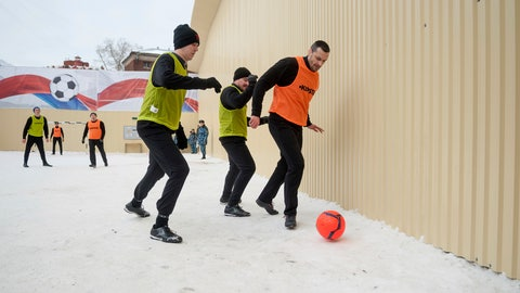 <p>               Pavel Mamaev, right, challenges for the ball during a soccer game at a pre-trial detention facility in Moscow, Russia, Thursday, Feb. 14, 2019. Mamaev probably never expected his highest-scoring game this season to be behind bars. The Russia national soccer team player, in custody awaiting trial over alleged assaults, scored seven goals in a six-a-side game Thursday to mark Valentine's Day at a pre-trial detention facility in Moscow. (Timofey Vasilyev, Moscow News Agency photo via AP)             </p>