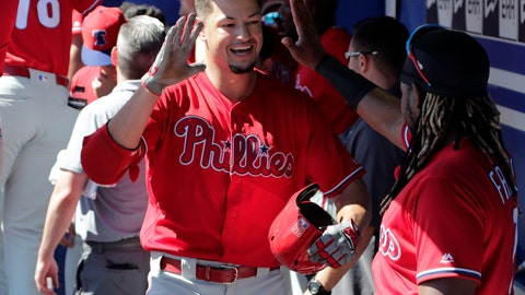 <p>               Philadelphia Phillies' Dylan Cozens, left, celebrates with Maikel Franco after hitting a three-run home run in the first inning of a spring training baseball game against the Toronto Blue Jays, Thursday, Feb. 28, 2019, in Dunedin, Fla. (AP Photo/Lynne Sladky)             </p>