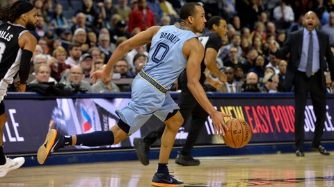 <p>               Memphis Grizzlies guard Avery Bradley (0) brings the ball up during the second half of the team's NBA basketball game against the San Antonio Spurs on Tuesday, Feb. 12, 2019, in Memphis, Tenn. (AP Photo/Brandon Dill)             </p>