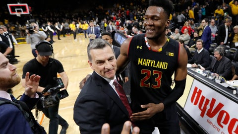 <p>               Maryland forward Bruno Fernando (23) celebrates with coach Mark Turgeon after an NCAA college basketball game against Iowa, Tuesday, Feb. 19, 2019, in Iowa City, Iowa. Maryland won 66-65. (AP Photo/Charlie Neibergall)             </p>
