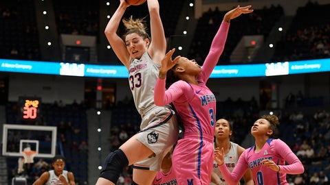 <p>               Connecticut's Katie Lou Samuelson, left, grabs a rebound over Memphis' Ashia Jones, right, during the first half of an NCAA college basketball game, Wednesday, Feb. 20, 2019, in Hartford, Conn. (AP Photo/Jessica Hill)             </p>