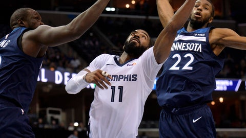<p>               Memphis Grizzlies guard Mike Conley, center, shoots between Minnesota Timberwolves forward Andrew Wiggins, right, and Luol Deng, left, in the second half of an NBA basketball game Tuesday, Feb. 5, 2019, in Memphis, Tenn. (AP Photo/Brandon Dill)             </p>