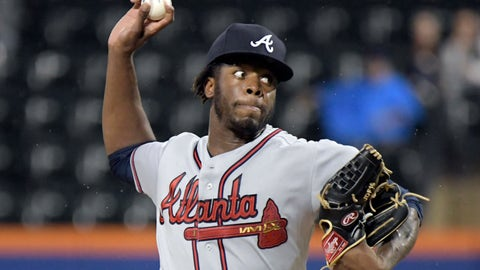 <p>               FILE - In this Sept. 25, 2018, file photo, Atlanta Braves pitcher Touki Toussaint delivers the ball to a New York Mets batter during the first inning of a baseball game, in New York. There is room for at least one young pitcher to emerge in Atlanta's rotation as the Braves pitchers and catchers prepare to report to spring training this week. Touki Toussaint and Mike Soroka are two names to watch. (AP Photo/Bill Kostroun, File)             </p>