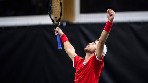 <p>               Russia's Karen Khachanov celebrates after defeating Switzerland's Henri Laaksonen in the fourth match of the Davis Cup qualification final round between Switzerland and Russia at the Swiss Tennis Arena in Biel, Switzerland, on Saturday, February 2, 2019. (Adrien Perritaz/Keystone via AP)             </p>