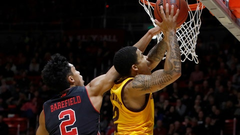 <p>               Arizona State's Rob Edwards, right, attempts a layup as Utah's Sedrick Barefield defends during the first half of an NCAA college basketball game Saturday, Feb. 16, 2019, in Salt Lake City. (AP Photo/Kim Raff)             </p>