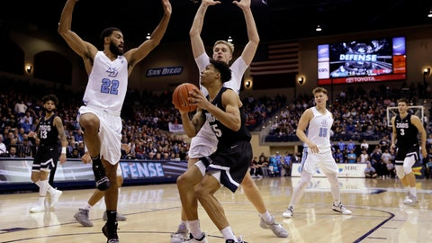<p>               San Diego guard Isaiah Wright (22) and forward Yauhen Massalski, center rear, defend against Gonzaga forward Brandon Clarke during the first half of an NCAA college basketball game Saturday, Feb. 16, 2019, in San Diego. (AP Photo/Gregory Bull)             </p>