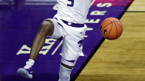 <p>               Kansas State guard Barry Brown Jr. celebrates following the team's NCAA college basketball game against Kansas in Manhattan, Kan., Tuesday, Feb. 5, 2019. Brown scored 18 points as Kansas State won 74-67. (AP Photo/Orlin Wagner)             </p>