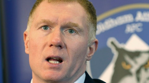 <p>               Newly unveiled Oldham Athletic soccer club manager Paul Scholes during a press conference at Boundary Park in Oldham, England, Monday Feb. 11, 2019. Former Manchester United midfielder Paul Scholes has landed his first managerial job at Oldham, which plays in England's fourth division.(Barrington Coombs/PA via AP)             </p>