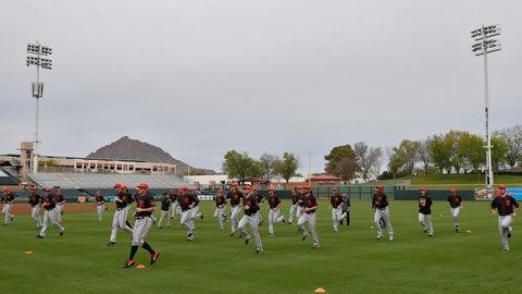 <p>               The San Francisco Giants workout during a baseball spring training practice, Wednesday, Feb. 13, 2019, in Scottsdale, Ariz. (AP Photo/Matt York)             </p>