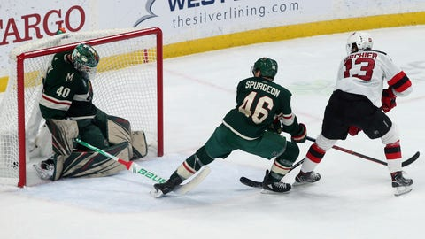 <p>               New Jersey Devils' Nico Hischier, right, of Switzerland, watches his overtime goal against Minnesota Wild goalie Devan Dubnyk in an NHL hockey game Friday, Feb. 15, 2019, in St. Paul, Minn. (AP Photo/Jim Mone)             </p>