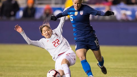 <p>               United States' Megan Rapinoe, right, tries to get around Japan's Risa Shimizu, left, with the ball during the first half of SheBelieves Cup soccer match, Wednesday, Feb. 27, 2019, in Chester, Pa. (AP Photo/Chris Szagola)             </p>