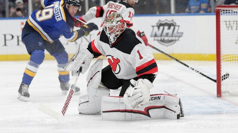 <p>               New Jersey Devils goaltender Keith Kinkaid (1) makes a save in the second period of an NHL hockey game against the St. Louis Blues, Tuesday, Feb. 12, 2019, in St. Louis. (AP Photo/Tom Gannam)             </p>