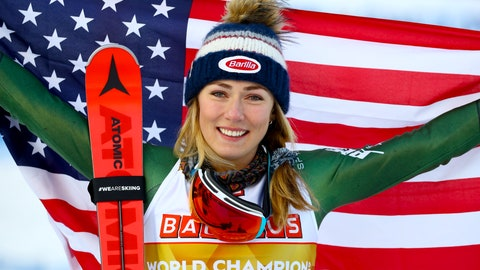 <p>               United States' Mikaela Shiffrin poses after winning the women's slalom, at the alpine ski World Championships in Are, Sweden, Saturday, Feb. 16, 2019. (AP Photo/Marco Trovati)             </p>