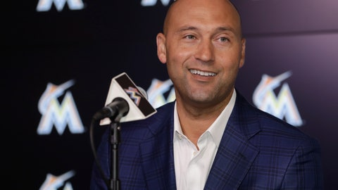 <p>               FILE - In this Monday, Oct. 22, 2018 file photo, Miami Marlins CEO Derek Jeter speaks during a news conference in Miami. During the offseason the Miami Marlins announced new concession offerings that included mushroom tacos, fries with mole sauce and bottomless popcorn and soda. The woebegone franchise's biggest offseason move came Thursday, when the Marlins traded All-Star catcher J.T. Realmuto to the Philadelphia Phillies for catcher Jorge Alfaro, two pitching prospects and $250,000 in international signing bonus pool allocation. The trade was the latest move in CEO Derek Jeter's rebuilding effort, which began soon after he took over in late 2017 and will likely continue for at least a couple more years.  (AP Photo/Lynne Sladky, File)             </p>