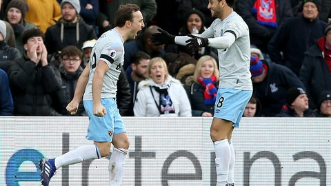 <p>               West Ham United's Mark Noble, left, celebrates scoring his side's first goal of the game against Crystal Palace, with team-mate Felipe Anderson during their English Premier League soccer match at Selhurst Park in London, Saturday Feb. 9, 2019. (Paul Harding/PA via AP)             </p>