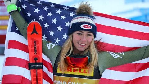 <p>               United States' Mikaela Shiffrin celebrates winning the women's super G during the alpine ski World Championships, in Are, Sweden, Tuesday, Feb. 5, 2019. (AP Photo/Marco Trovati)             </p>