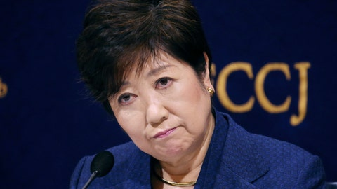 <p>               Governor of Tokyo Yuriko Koike reacts during a press conference in Tokyo, Monday, Feb. 18, 2019. Gov. Koike has declined to weigh in on the future Japanese Olympic Committee President Tsunekazu Takeda. Takeda is being investigated for his part in a bribery scandal that French investigators believe may have helped Tokyo win the 2020 Olympics in a vote by the International Olympic Committee.(AP Photo/Koji Sasahara)             </p>