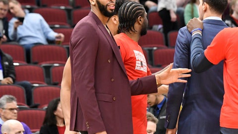 <p>               New Orleans Pelicans' Anthony Davis stands near the bench before an NBA basketball game against the Chicago Bulls Wednesday, Feb. 6, 2019, in Chicago. (AP Photo/David Banks)             </p>