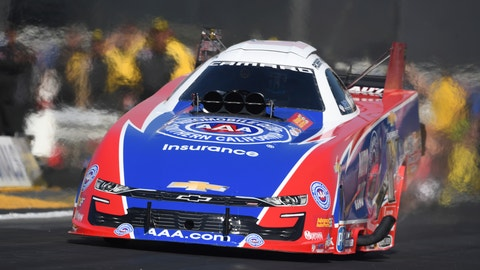 <p>               In this photo provided by the NHRA, Robert Hight drives in Funny Car qualifying at the Lucas Oil NHRA Winternationals drag races at Auto Club Raceway on Friday, Feb. 8, 2019, in Pomona, Calif. Hight leads the category with a run of 3.871 seconds at 329.67 mph recorded during his second pass of the day. (Jerry Foss/NHRA via AP)             </p>
