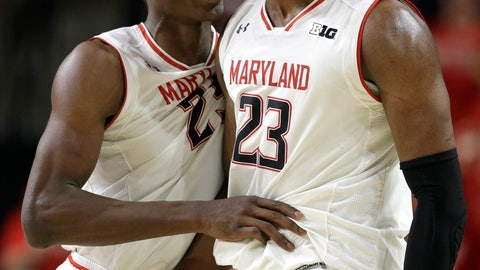 <p>               Maryland forwards Jalen Smith, left, and Bruno Fernando react after Purdue called a timeout following a Maryland run during the second half of an NCAA college basketball game Tuesday, Feb. 12, 2019, in College Park, Md. Maryland won 70-56. (AP Photo/Patrick Semansky)             </p>