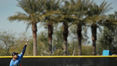 <p>               Seattle Mariners pitcher Yusei Kikuchi, from Japan, throws during spring training baseball practice Tuesday, Feb. 12, 2019, in Peoria, Ariz. (AP Photo/Charlie Riedel)             </p>